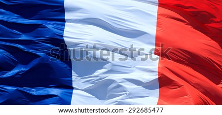 Closeup of French flag - stock photo