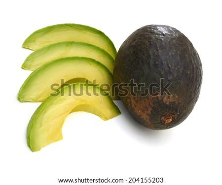 closeup of fresh avocado slices  - stock photo