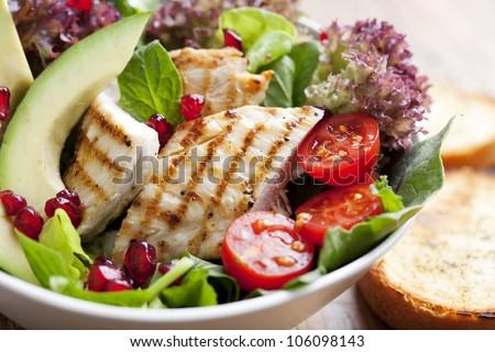 closeup of fresh chicken salad - stock photo
