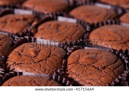 closeup of freshly baked brownies - stock photo