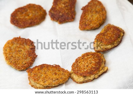 Closeup of fried vegetarian cutlets from lentil on napkins - stock photo