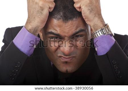 Closeup of frustrated businessman. - stock photo