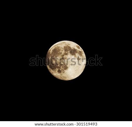 Closeup of full moon, taken on 30 of July 2015 - stock photo
