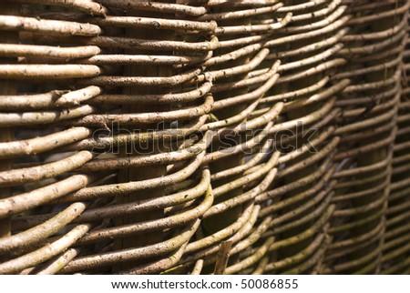 Closeup of gaden willow fence - stock photo