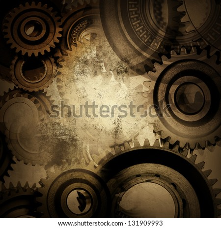Closeup of gears and grunge background - stock photo