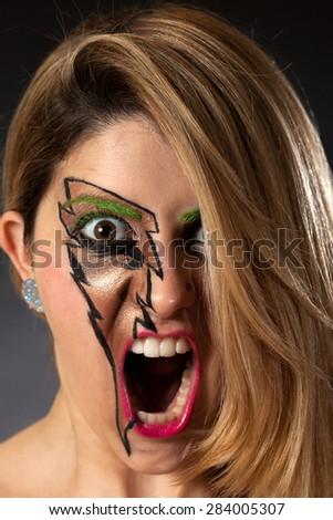 Closeup of Girl Screaming Lightning Makeup - stock photo