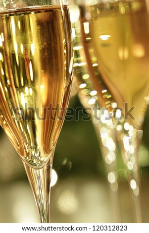 Closeup of glasses of champagne - stock photo