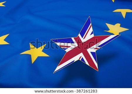 Closeup of Glossy Flag of European Union - EU Flag Drapery - Shallow Depth of Field - stock photo