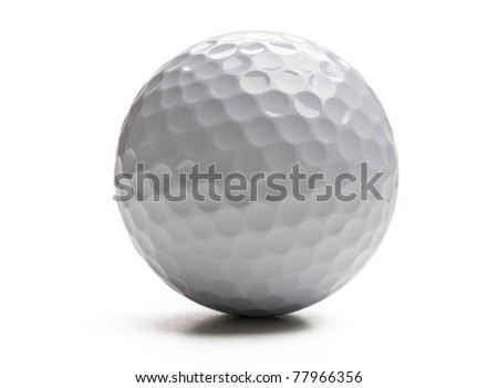 Closeup of golf ball isolated on white background. - stock photo