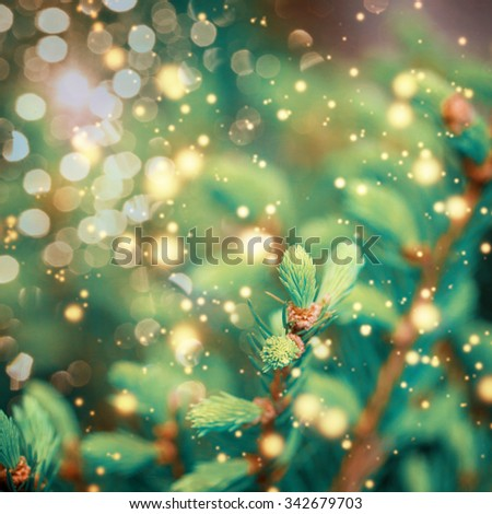 Closeup of Green Christmas-tree. Christmas background.Toned retro image - stock photo
