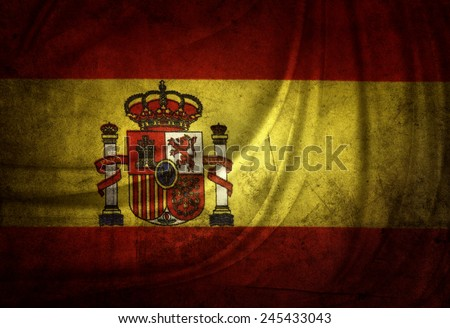 Closeup of grunge Spanish flag - stock photo