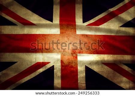 Closeup of grunge Union Jack flag  - stock photo