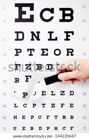 Closeup of hand holding magnifying glass against Snellen chart - stock photo