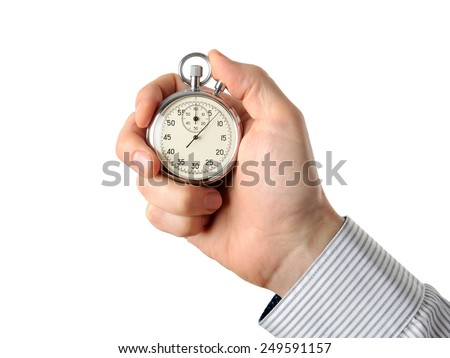 Closeup of hand holding stopwatch, isolated on white background - stock photo