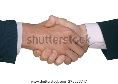Closeup of hands of two males shaking hands - stock photo