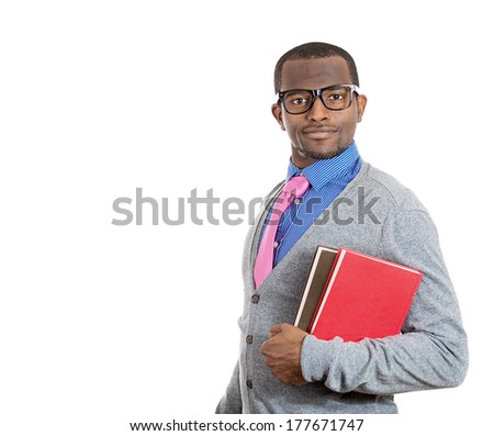 Closeup of happy, excited young handsome man holding books, ready to receive knowledge after enrollment in college, isolated on white background. Positive human emotions, facial expressions, feelings - stock photo