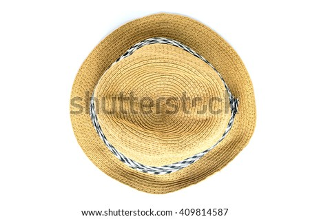 Closeup of hat made of rattan isolated on white background. - stock photo