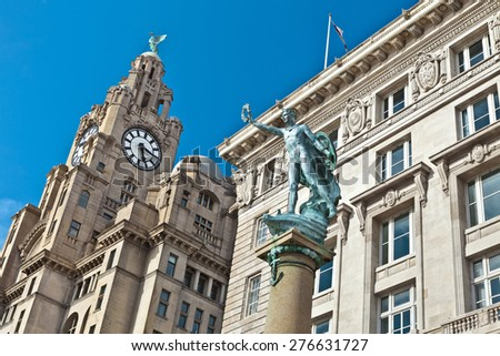 Closeup of historic buildings at the waterfront also part of Liverpool's UNESCO designated World Heritage Maritime Mercantile City. - stock photo