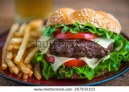 Closeup of Homemade Hamburger with Fresh Vegetables and French Fries on a Plate - stock photo