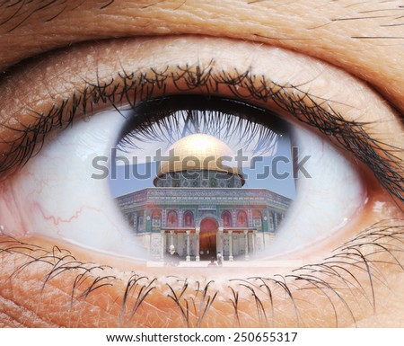 Closeup of human eye, macro mode with double exposure and Masjid al-Aqsa mosque in Jerusalem - stock photo