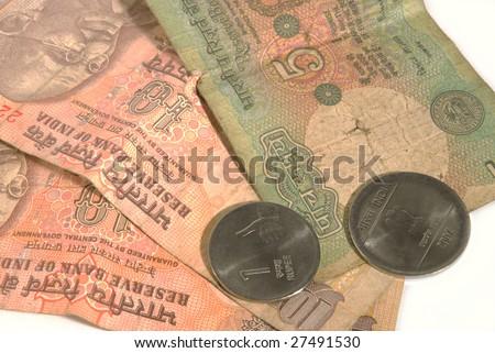Closeup of Indian money - stock photo