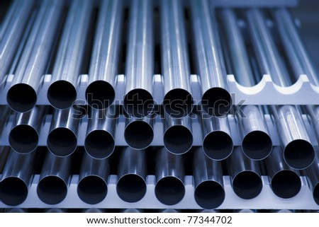 Closeup of innards of machine shop lathe - stock photo