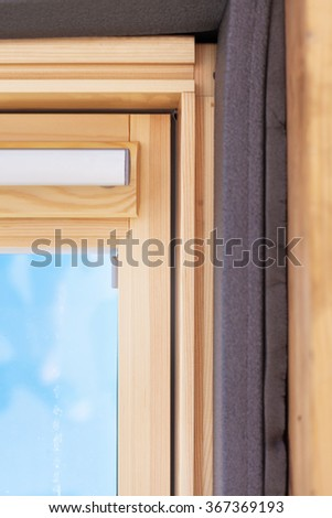 Closeup of insulation detail in dormer window (skylight) - stock photo