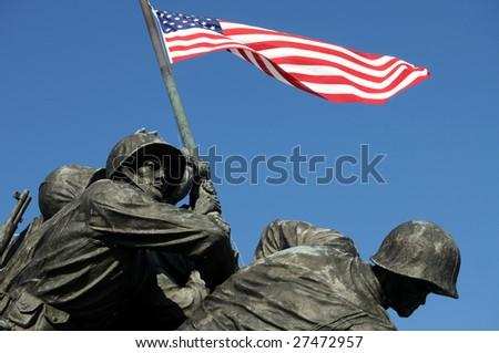 Closeup of Iwo Jima, the United States Marine Corps Memorial, in Arlington, Virginia - stock photo