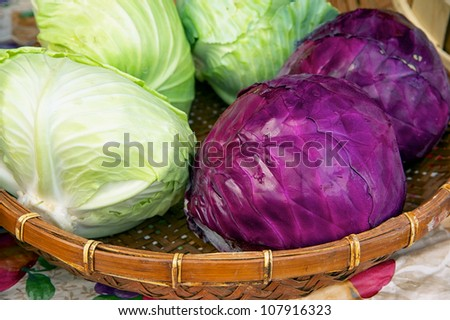 Closeup  of just harvested cabbage at Delaware farmers market - stock photo