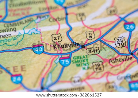 Closeup of Knoxville on a geographical map. - stock photo