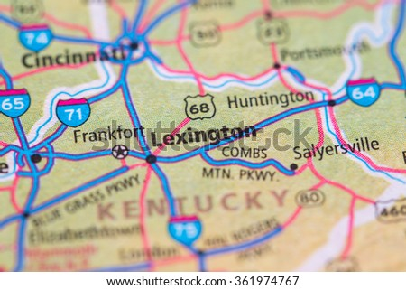 Closeup of Lexington on a geographical map. - stock photo