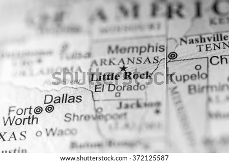Closeup of Little Rock, Arkansas on a political map of USA. - stock photo