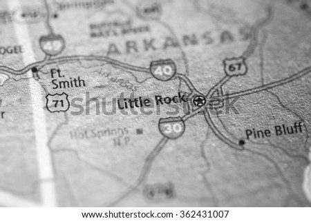 Closeup of Little Rock on a geographical map. (black and white) - stock photo