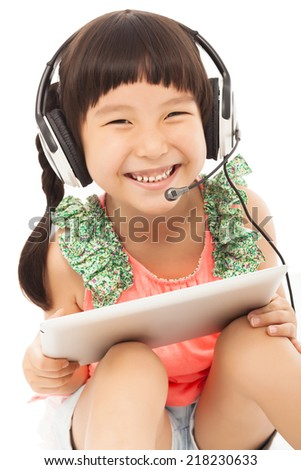 closeup of  little student girl holding a tablet.isolated on white background  - stock photo
