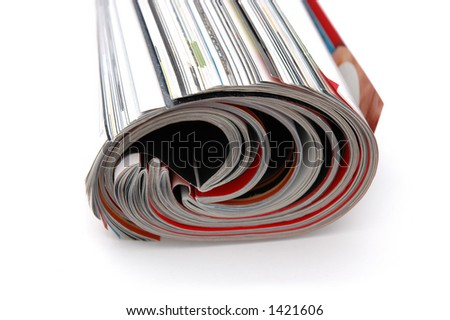 Closeup of magazine roll together (Shallow DOF) - stock photo