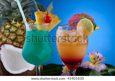 ... of Mai Tai and Blue Hawaiian cocktails surrounded by tropical