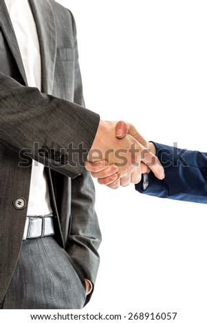 Closeup of male and female lawyers or business partners shaking hands. Conceptual of success, closing a deal or partnership. Over white background. - stock photo