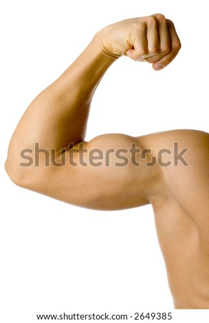 Closeup of male flexed arm. Isolated on white in studio. - stock photo