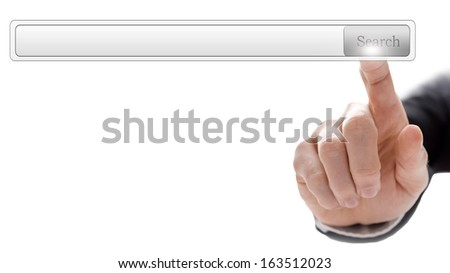 Closeup of male hand pointing at empty search bar on virtual screen. Ready for your text. - stock photo