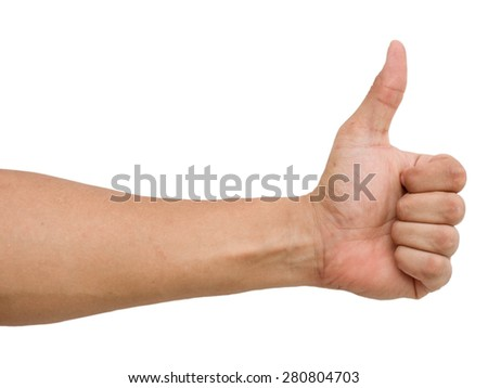 Closeup of male hand showing thumbs on white background - stock photo