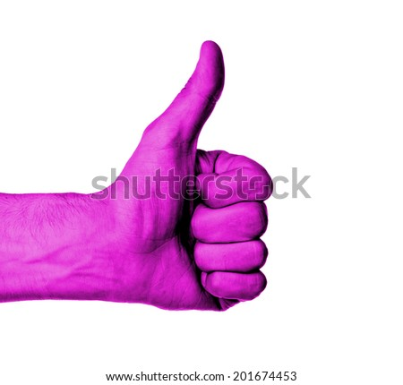 Closeup of male hand showing thumbs up sign against white background, pink skin - stock photo