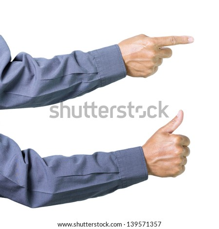 Closeup of male hand showing thumbs up sign and fingure point against white background - stock photo