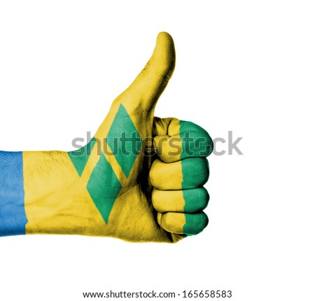 Closeup of male hand showing thumbs up sign, flag of Saint Vincent and the Grenadines - stock photo