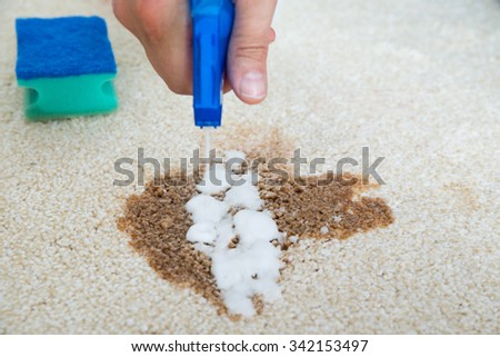 Closeup of man hand cleaning stain on carpet with spray bottle - stock photo