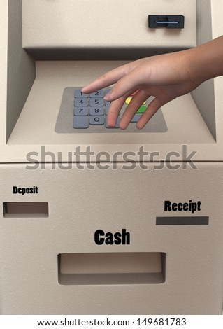 Closeup of man's hand entering PIN code on ATM machine keypad, 3D digital render - stock photo