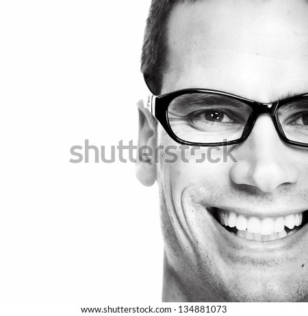 Closeup of Man with eyeglasses. Isolated on white background. - stock photo