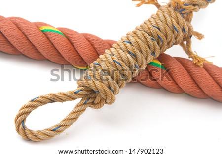 Closeup of Manila Nylon Ropes  - stock photo