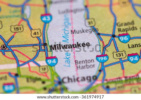 Closeup of Milwaukee on a geographical map. - stock photo