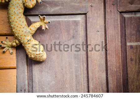 Closeup of model gecko on the wall - stock photo