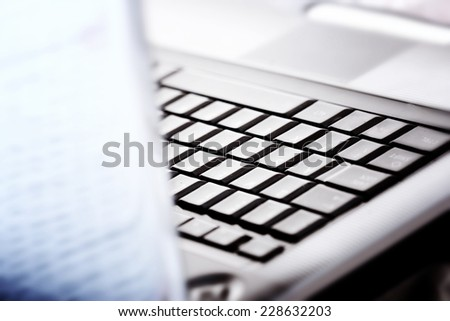 Closeup of modern and stylish laptop. - stock photo